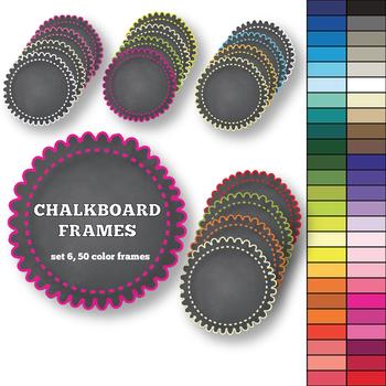 Round Chalkboard Frames set 6