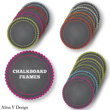 Round Chalkboard Frames set 9
