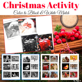 Christmas Color to Black & White Matching Activity for Spe