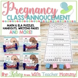 Class Pregnancy Announcement for Teachers- Math and ELA Puzzles