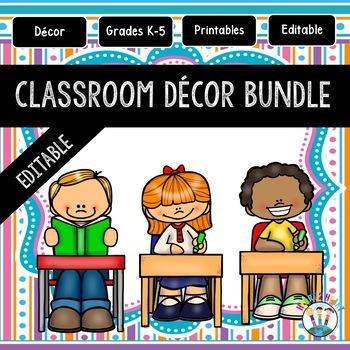 Aqua, Pink, Orange, and Purple Stripes and Dots Classroom Decor Pack #12