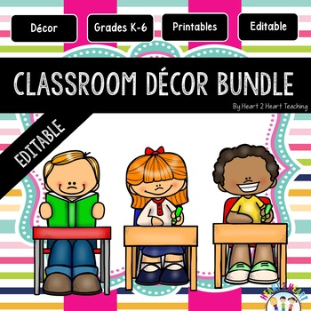 Gold, Blue, Lime Green, and Pink Striped Classroom Decor Pack #14