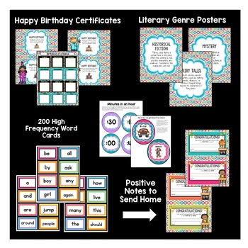 Turquoise, Purple, and Pink Dots Classroom Decor Pack #16