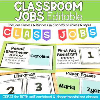 Classroom Jobs Posters and Banner Editable - Various Colors and Styles
