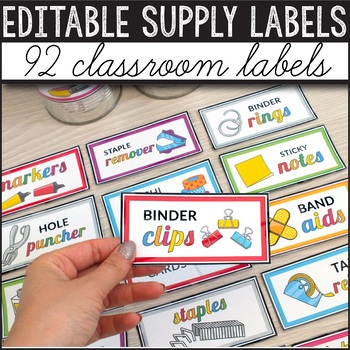 Editable Classroom Supply Labels with Pictures (Visual Supply Labels)