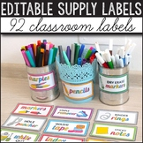 Editable Classroom Supply Labels with Pictures