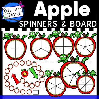 Clipart - Apple & Bookworm Spinners and Gameboard {Sweet Line Design}