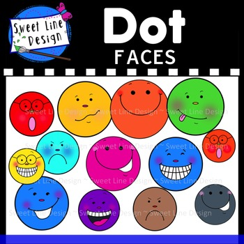 Clipart - Dot Faces with Expressions {Sweet Line Design}