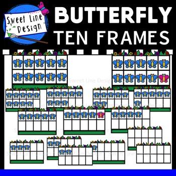 Clipart - Math- Butterfly Ten Frames {Sweet Line Design}
