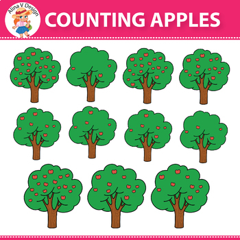 Counting Apples Clipart 0 to 20