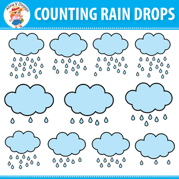 {FREE} Counting Pictures: Counting Rain Drops Clipart 0 to 20