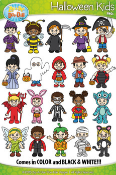 Halloween Kid Characters Clipart Set — Includes 40 Graphics!