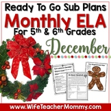December Sub Plans ELA for 5th, 6th Grades. Christmas