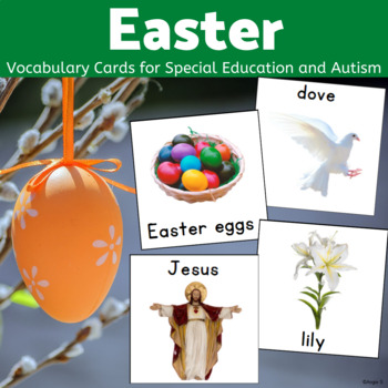 graphic regarding Picture Cards for Autism Printable named Easter Vocabulary Printable Visuals for Distinctive Schooling and Autism