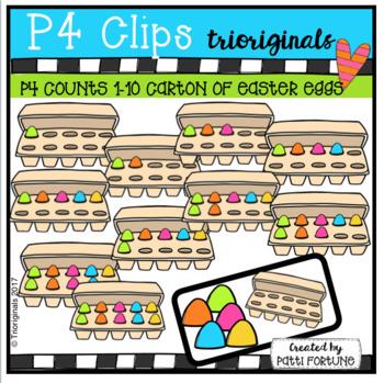 Easter Egg Carton 10 Frames (P4 Clips Trioriginals Clip Art)