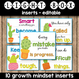 Editable Light Box Inserts - Growth Mindset Quotes Succulent Classroom Decor