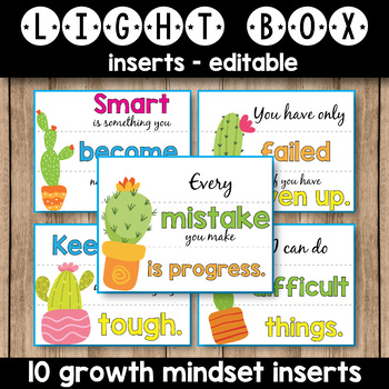 Editable Light Box Inserts - Growth Mindset Quotes Succulent Classroom Decor