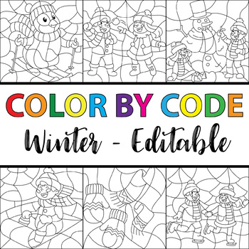Editable Make Your Own Color By Number - Winter Theme
