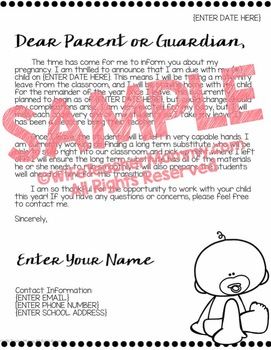 Editable Maternity Leave Letter to Parents