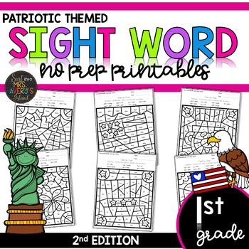 First Grade Color by Code Sight Words Patriotic | Memorial Day | 4th of July