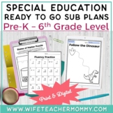 Special Education Sub Plans Bundle K-5 SPED Resource. Emer