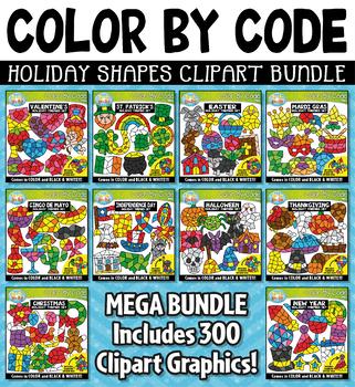 Holiday Color By Code Shapes Clipart Mega Bundle