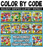 Holiday Color By Code Shapes Clipart Mega Bundle