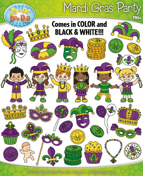 Mardi Gras Party Clipart {Zip-A-Dee-Doo-Dah Designs}