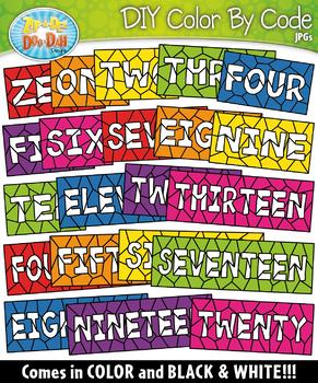 NUMBER WORDS Color By Code Clipart {Zip-A-Dee-Doo-Dah Designs}