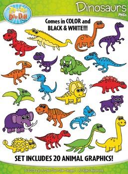 Rainbow Dinosaur Clipart {Zip-A-Dee-Doo-Dah Designs}
