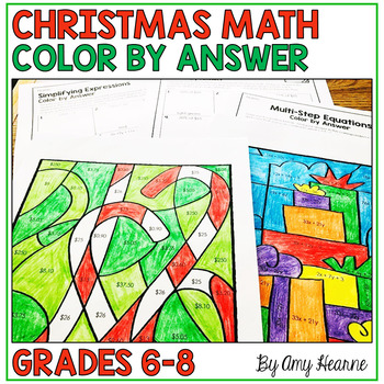 Christmas Middle School Math Worksheets: Color by Answer | TpT