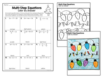 Christmas Middle School Math Worksheets: Color by Answer