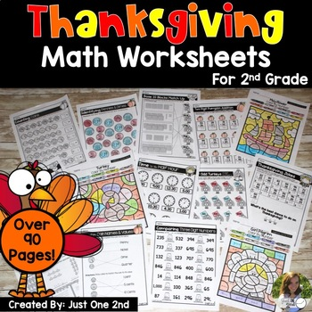 NO PREP Thanksgiving Math Worksheets for 2nd Grade