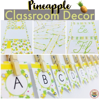 Pineapple Classroom Decor Pack EDITABLE