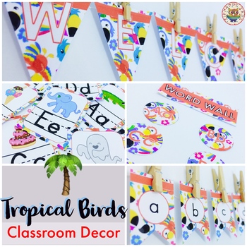 Tropical Birds Classroom Decor Pack EDITABLE