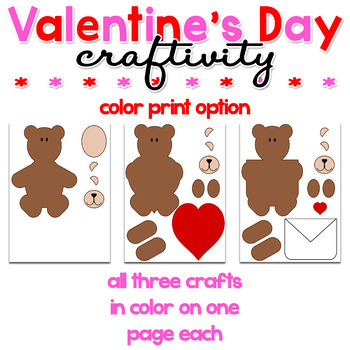 Valentine's Day Bears Paper Craft Craftivity