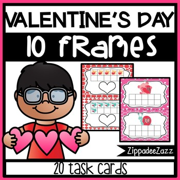 Valentine's Ten Frame Task Cards Counting to 10