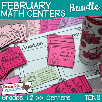 February Math Centers Bundle- First and Second Grades {TEKS/CCSS}