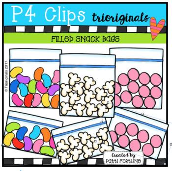 Filled Snack Bags (P4 Clips Trioriginals Clip Art)