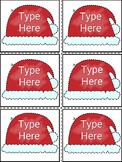 Editable Christmas Labels-Santa Hat Gift Tags