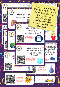 States of Matter (Liquids, Solids, and Gases) QR Code Quiz