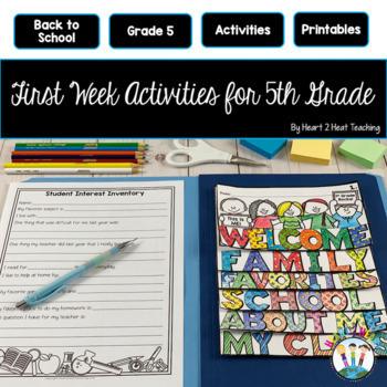 First Week of School Activities for 5th Grade