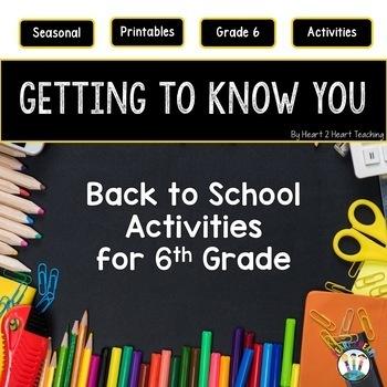 First Week of School Activities for 6th Grade