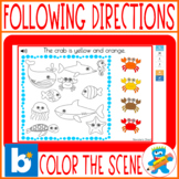 Following directions Color the scene SUMMER Boom Cards aud