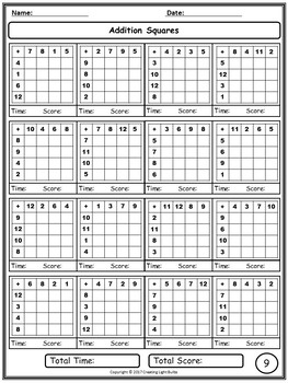 Number Squares Bundle. Addition & Multiplication Squares.