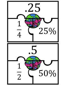 Fractions, Decimals, Percents Earth Day Match Up