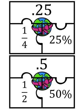 Fractions, Decimals, Percents Earth Day Match Up