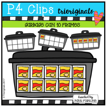Garbage Can 1-10 10 Frames (P4 Clips Trioriginals Clip Art)