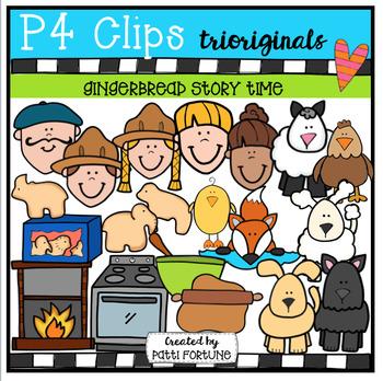 P4 STORY TIME Gingerbread (P4 Clips Trioriginals Digital Clip Art)