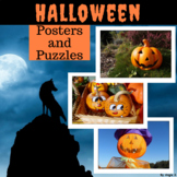 Halloween Cut and Paste Activity, Puzzles and Posters for Classroom Decor